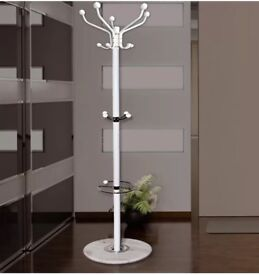 Elegant white coat hanger with real marble base *Brand new in Box*