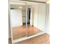 💥💯BLOWOUT SALE 2 DOORS SLIDING WARDROBE WITH FULL MIRRORS ALL SHELVES & RAILS INCLUDED