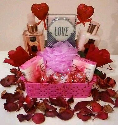 Valentine Gift Basket For Women Pink Spa Bath Body Lotion Soap Roses Chocolates