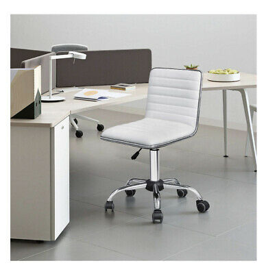 White Desk Chair Mid-back Office Armless Swivel Rolling Leather Home Workstation
