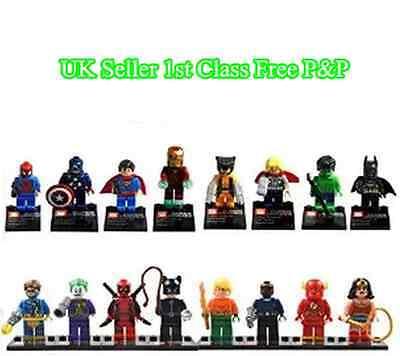 16pcs Marvel DC Super Hero Avengers mini figure Minifigure made fits Lego