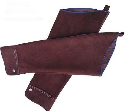 Brown Split Leather Welding Sleeves Protective Heat Arm Sleeve Tool