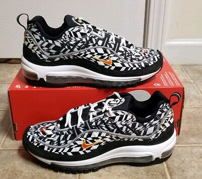 df128fff35bbe9 Nike Air Max 98 AOP Wht Team Orange Blk AQ4130 100 Men s Sz 7 NEW NOLID QS  PRM