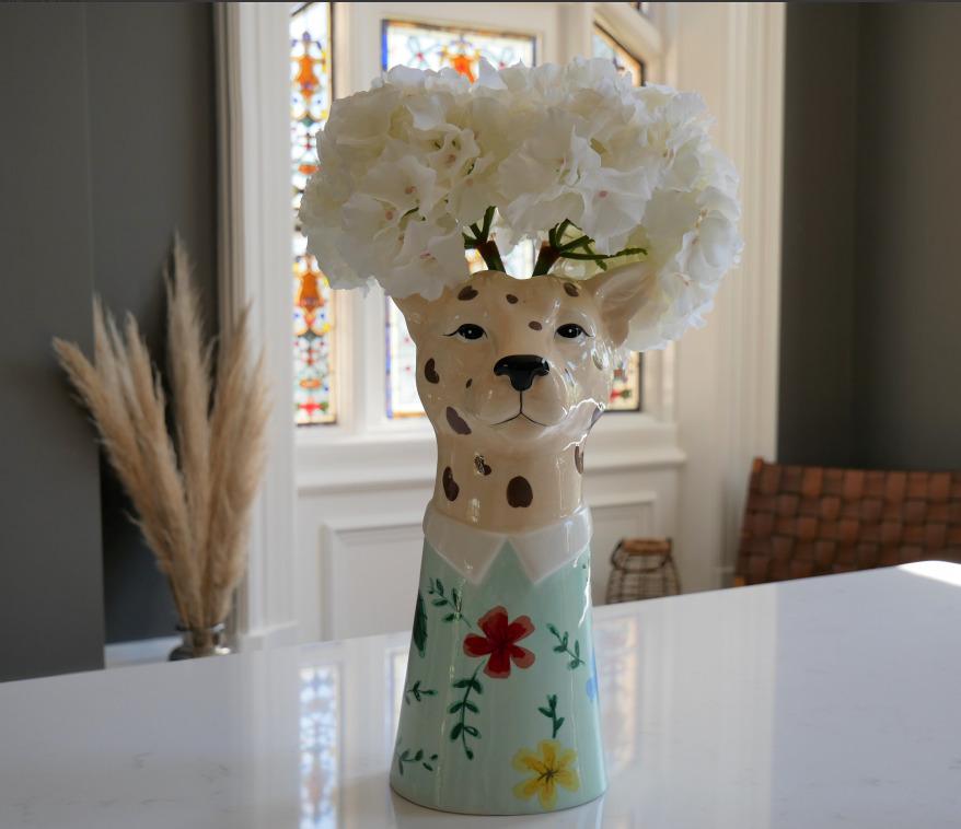 Leopard Head Ceramic Vase Colourful Statement Animal Head Piece Home Decor