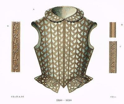 "Chromolithograph of MIDDLE AGES - ""CHEST ARMOR"" by Hefner-Alteneck in 1840"