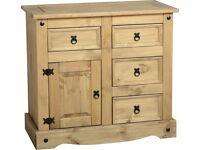 Corona 1 Door 4 Drawer Sideboard in Distressed Waxed Pine - New - £106.50