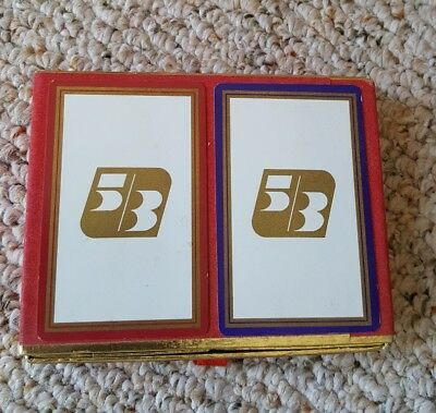 Collectible 5 3 Fifth Third Bank Sealed Playing Cards In Felt Lined Box   Nice