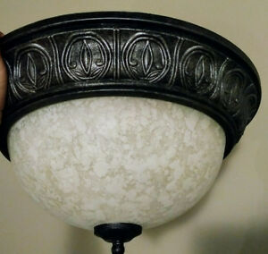 Flush ceiling lamp fixture, beautiful rim and marble glass patte