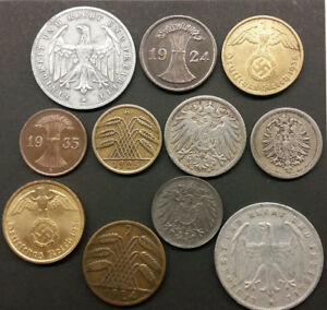 11 German coins from 1875 - 1938