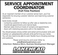 SERVICE APPOINTMENT COORDINATOR