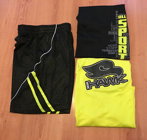 Boys size medium/large shorts and 2 shirts