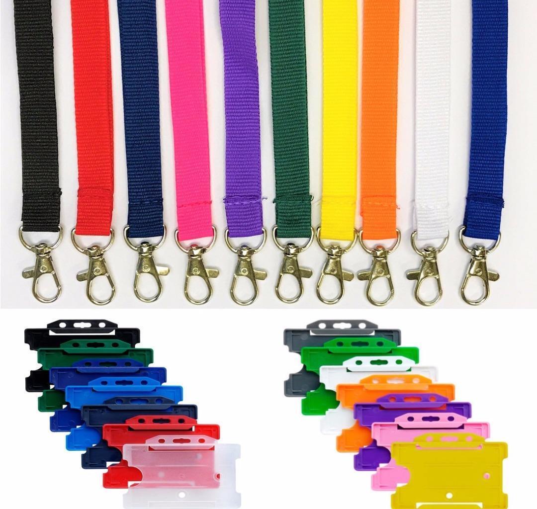 plain lanyard metal neck strap 15mm lanyard with id badge