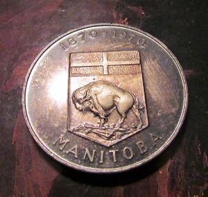 TWO 1870-1970 Manitoba Centennial Commemorative Medals Uncl Kitchener / Waterloo Kitchener Area image 4