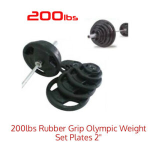 200lbs Rubber Grip Olympic Weight Set Plates