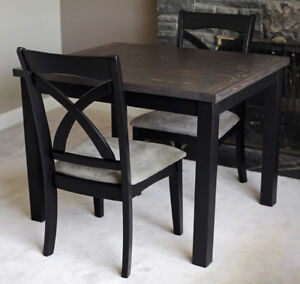 Solid Wood Dining Set with 2 Upholstered Chairs