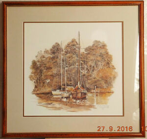 "Vintage Print of ""Boats at Anchor"" by Peter Arnold, 1987"