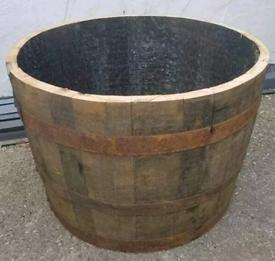 OAK EX-WHISKY HALF BARREL PLANTER TUB
