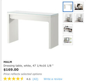 99% new, perfect condition dressing table, color in white