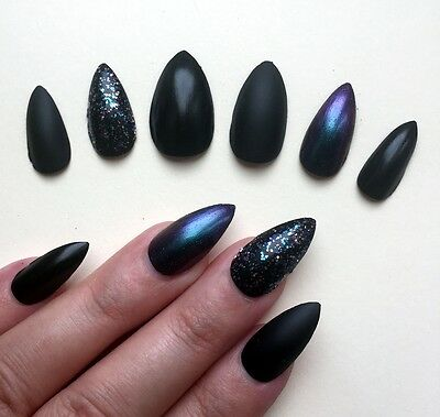 Hand Painted False Nails STILETTO (or ANY SHAPE) Black Matte/Gloss Halloween UK (Paint Halloween Nails)