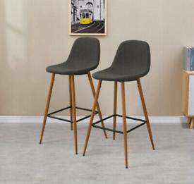 Pair of bar stools w/ oak effect metal legs and linen seats