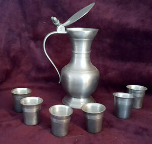 Pewter Serving Jug and Shot Glasses