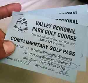 Three Passes to Valley Regional Park Golf Course
