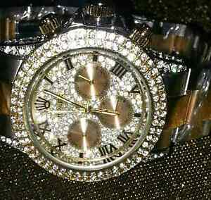 ROLEX neuf 18 k .t d'or high quality avec crystal swarevisk unis