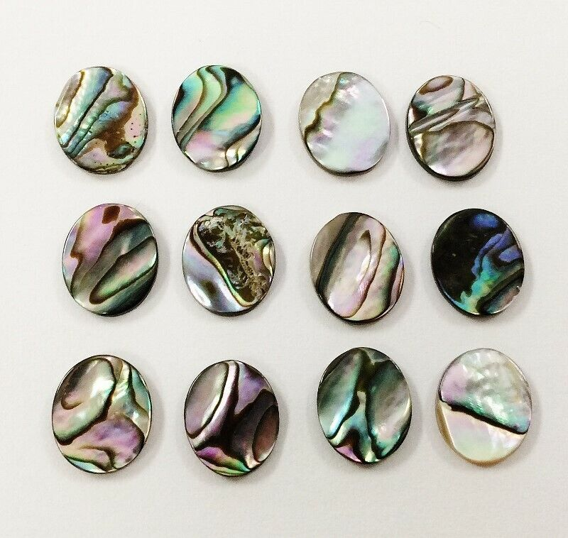 12 VINTAGE GENUINE ABALONE MOTHER PEARL PAUA SHELL 12x10mm. OVAL CABOCHONS 1247