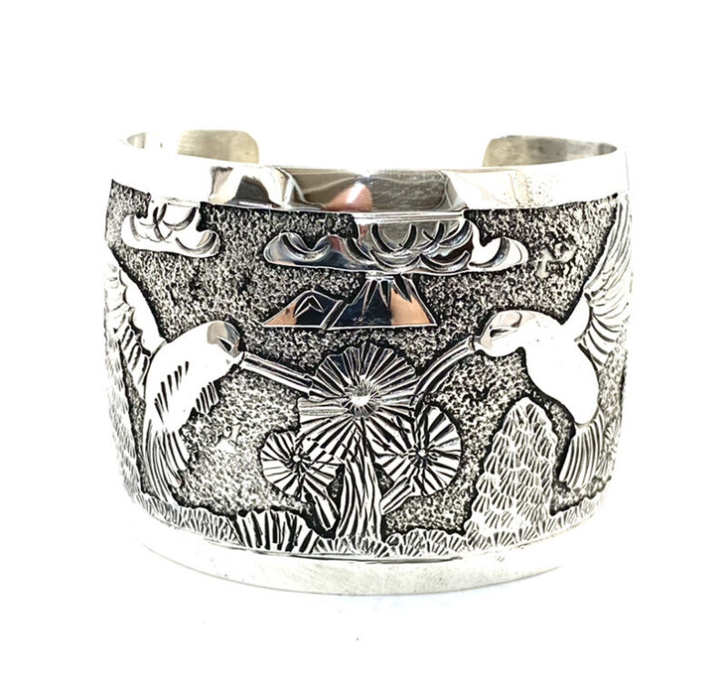 Native American Sterling Silver Navajo Handmade StoryTellerDesign Cuff Bracelet