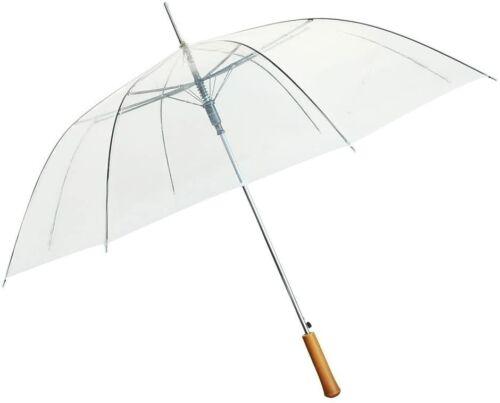 "Rain Umbrella - Clear - 48"" Across - Rip-Resistant Material - Auto Open"