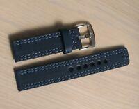 Watch band sport heavy full grain dark blue leather 22mm