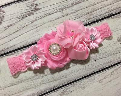 Pink Easter Headband,Pink Lace Baby /Toddler/Girl Headband