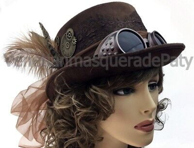 Hat With Goggles (Elegant Women Deluxe Steampunk Top Hat with Feather veil coins Removable)