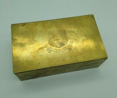 Antique Brass Inscribed Shropshire Coat Of Arms Trinket Box Christmas Gift 1909