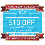 LOWES IN-STORE & ONLINE $10 OFF $50 DISCOUNT PROMO CODE 1COUPON EXP 10/31