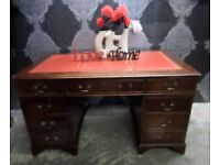 Fantastic Chesterfield Leather Top Double Pedestal Writing Desk Red Leather UK Delivery