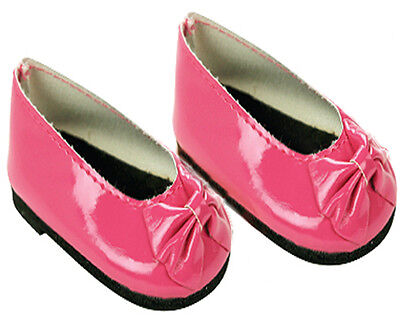 Hot Pink Patent Slip On Dress Shoes with Bow Fits 18 inch American Girl Dolls - Hot Girls With Clothes On