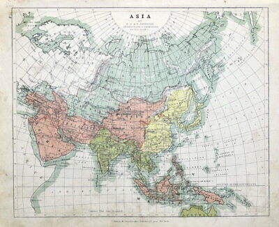 ASIA, Johnston, original antique map 1862
