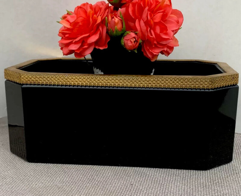 Antique French Black Opaline Box Caddy