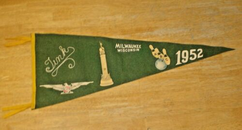 """Vintage 1952 ABC Bowling Pennant Milwaukee, Wisconsin """"Tink"""" Ball & Pins Beauty!"""