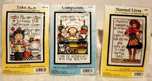 """Cross Stitch Kits - set of 3 Humorous from Design Works 5"""" x 7"""" Counted"""