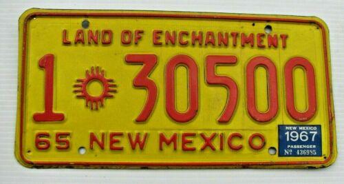 """1965 1967 NEW MEXICO AUTO LICENSE PLATE """" 1 30500 """"  NM 67  SANTA FE  COUNTY"""