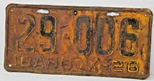 1926 IDAHO License Plate Collectible Antique Vintage 29-006