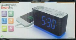SmartSet Alarm Clock Radio w/Bluetooth Speaker,USB Charger for iPhone and Androi