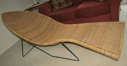 RARE Vintage Woven Wicker Fish Chaise Lounge Authentic W/ Iron Frame HUGE
