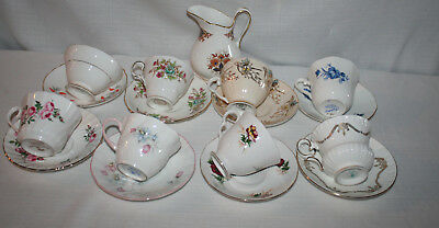 LOT OF 8 MIXED SETS BONE CHINA TEA / COFFEE CUPS & SAUCER + CREAMER 17 PCS