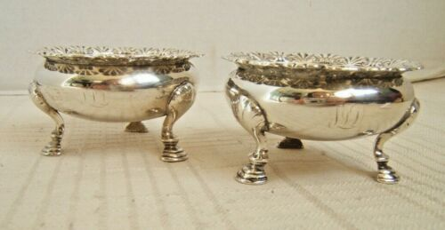 2 TIFFANY & CO STERLING SILVER OPEN SALTS FOOTED LARGER