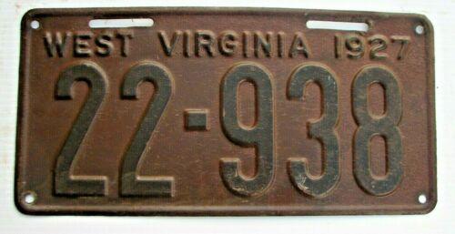 """1927 WEST VIRGINIA  AUTO LICENSE PLATE  """" 22 938 """"  WV  27  ALL ORIGINAL COND."""