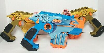 3 Nerf Lazer Tag Phoenix LTX 1 Blue 2 Orange  Gold Light Toy Guns 2008 BATTERIES