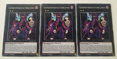 3 x The Phantom Knights of Cursed Javelin - LEHD-ENC32 1st Edition YuGiOh NEW